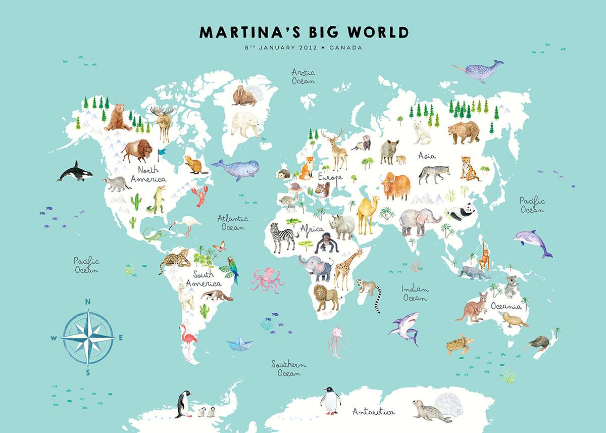 Personalized animal world map English