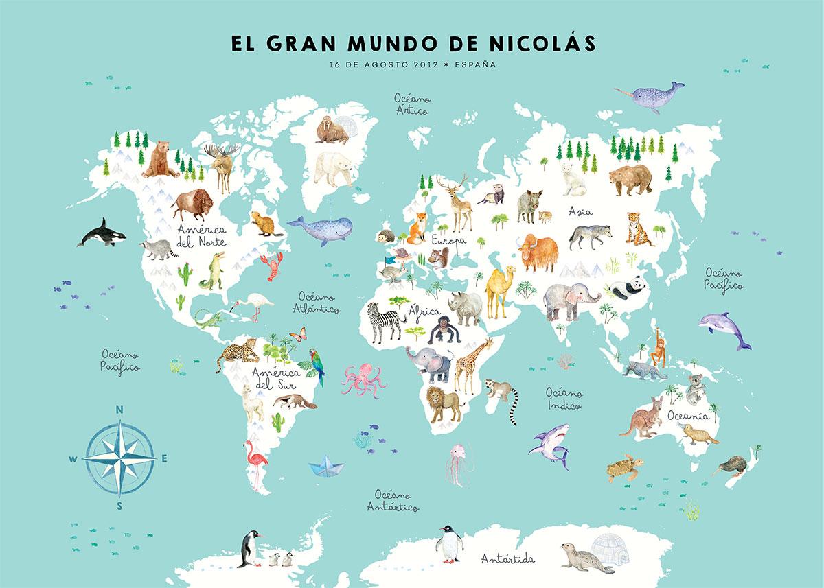Mapamundi de animales personalizado en español