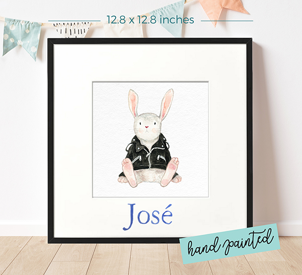 Personalized watercolour painting Biker Rabbit