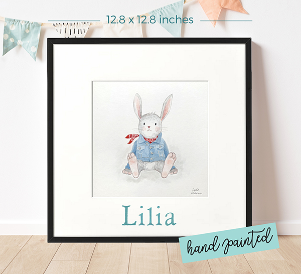 Personalized watercolour painting Denim Rabbit