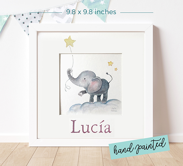 Personalized watercolour painting Elephant and Star