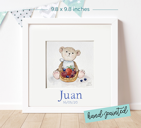 Personalized watercolour painting Greedy Teddy
