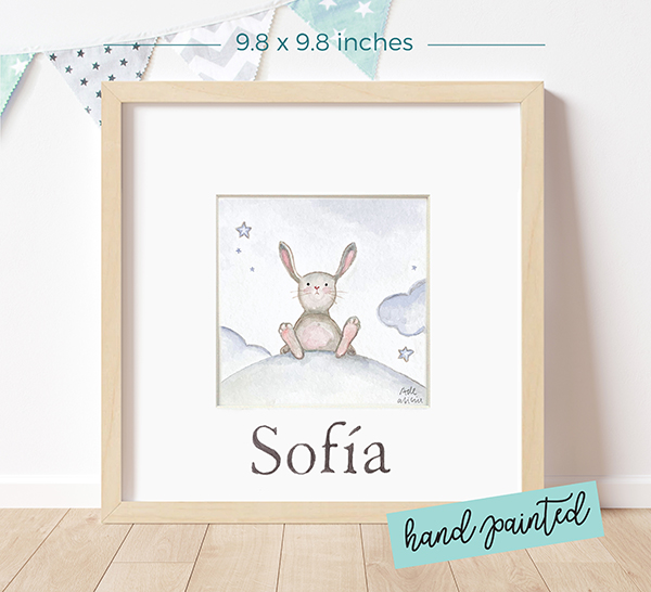 Personalized watercolour painting Rabbit over the Moon