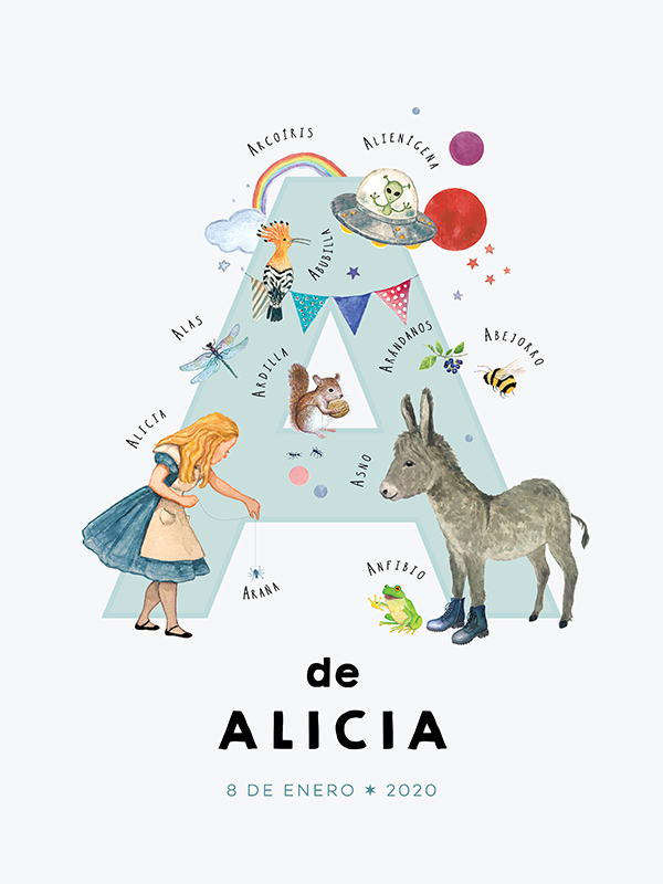 Personalized name print, letter A in Spanish