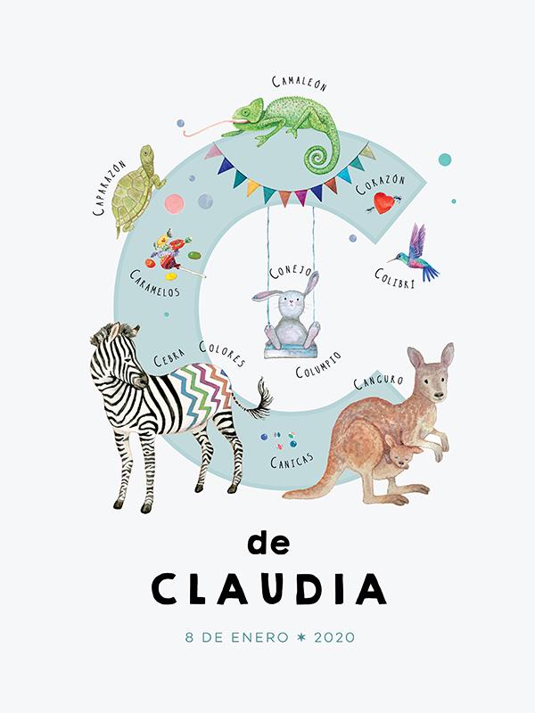 Lámina con nombre personalizado, letra C español