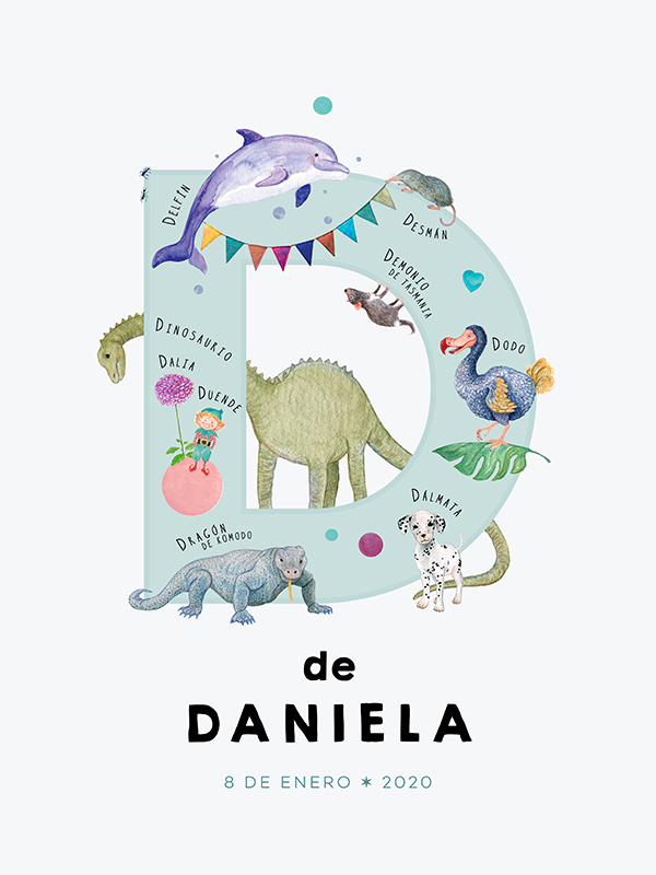 Personalized name print, letter D in Spanish