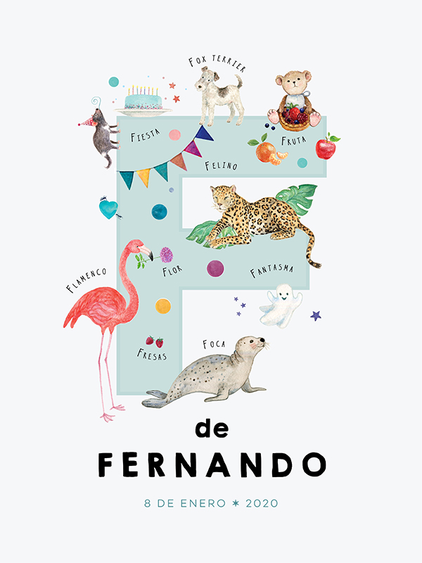 Personalized name print, letter F in Spanish