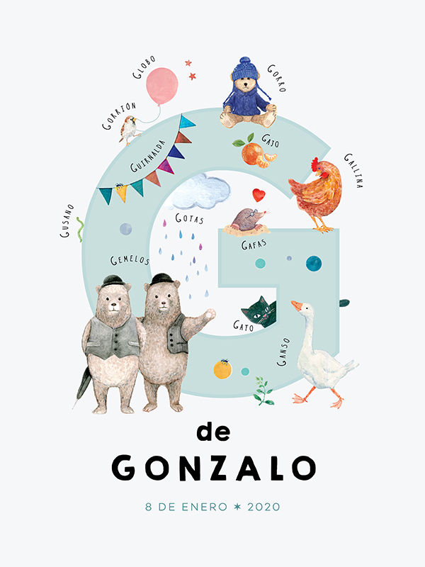 Personalized name print, letter G in Spanish