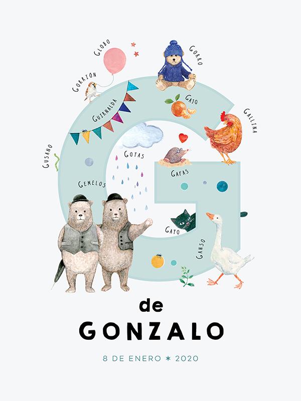 Lámina con nombre personalizado, letra G español