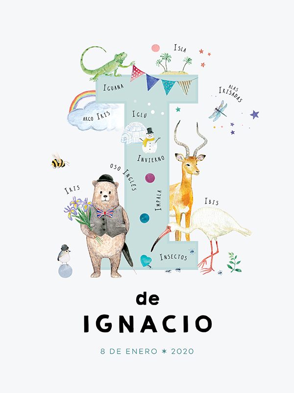 Lámina con nombre personalizado, letra I español