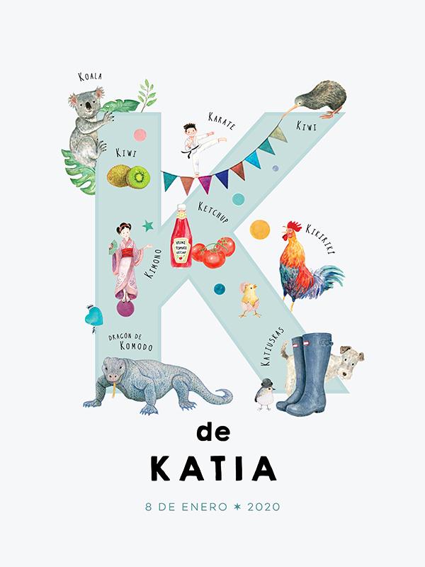 Lámina con nombre personalizado, letra K español