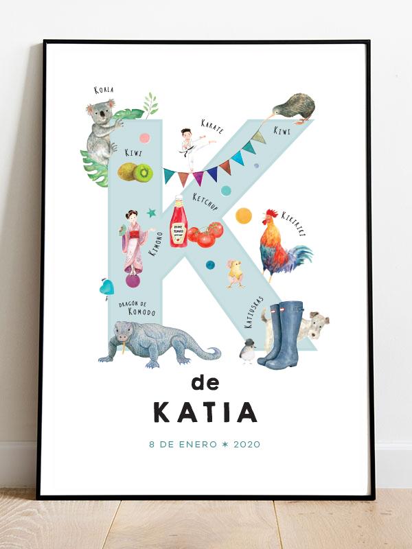 Letra K en español enmarcada