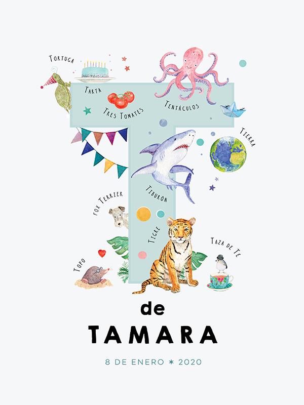 Lámina con nombre personalizado, letra T español