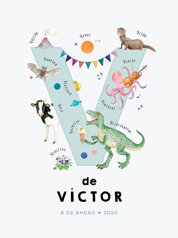 Lámina con nombre personalizado, letra V español