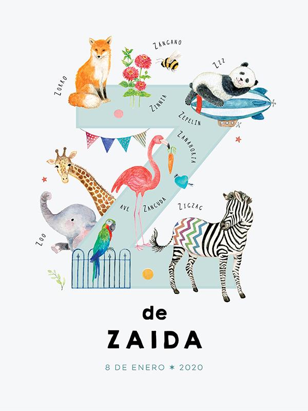 Lámina con nombre personalizado, letra Z español